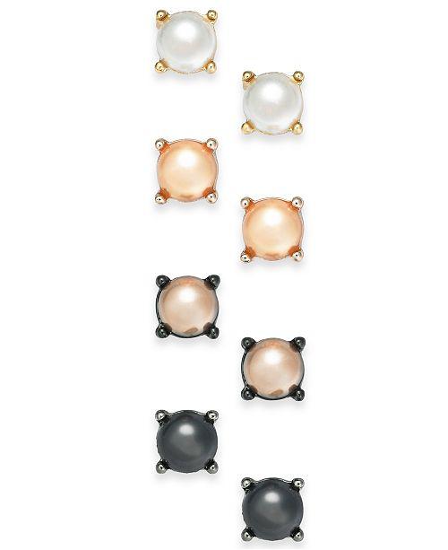 INC International Concepts INC Two-Tone 4-Pc. Set Imitation Pearl Stud Earrings, Created For Macy's