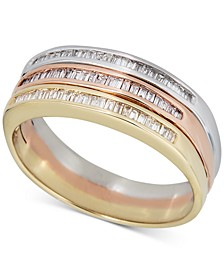 Diamond Baguette Tricolor Stack-Look Statement Ring (1/3 ct. t.w.) in 14k Gold, White Gold & Rose Gold