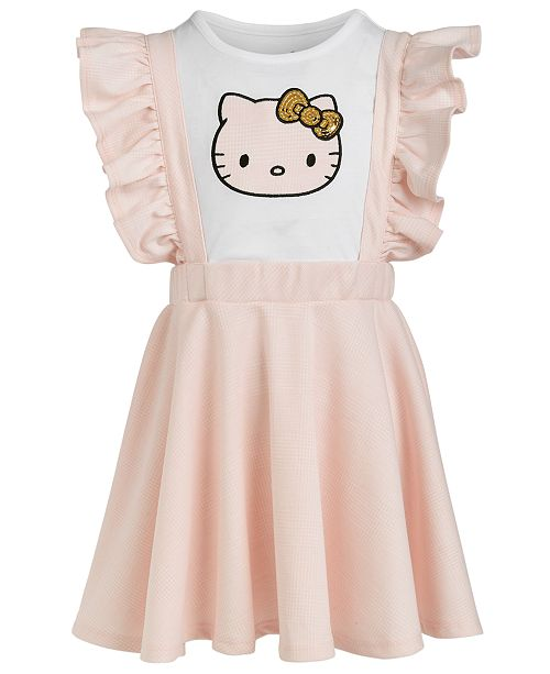 Hello Kitty Little Girls Plaid-Patch Sequin T-Shirt and Dress