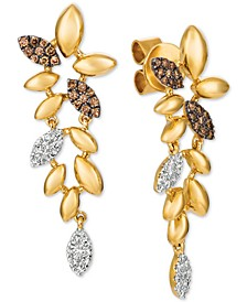 Chocolatier® Diamond Leaf Drop Earrings (1/4 ct. t.w.) in 14k Gold