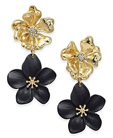 INC Two-Tone Pavé Flower Double Drop Earrings, Created For Macy's