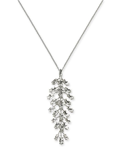 "INC International Concepts INC Silver-Tone Crystal Pendant Necklace, 30"" + 3"" extender, Created For Macy's"