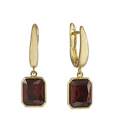 Gold Tone Drop Earrings with Pink Stones