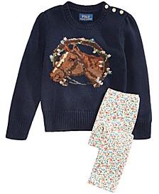 Toddler & Little Girls Merino-Blend Floral Horse Sweater & Floral-Print Leggings