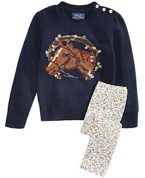 Polo Ralph Lauren Toddler & Little Girls Merino-Blend Floral Horse Sweater & Floral-Print Leggings