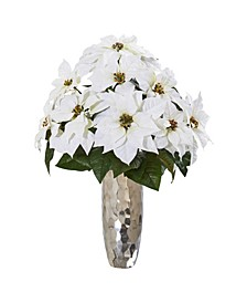 Poinsettia Artificial Arrangement in Silver Cylinder Vase