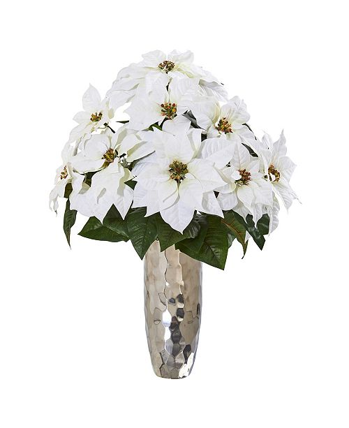 Nearly Natural Poinsettia Artificial Arrangement in Silver Cylinder Vase