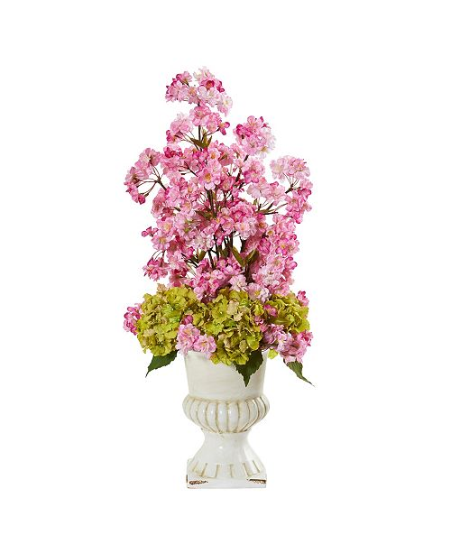"""Nearly Natural 29"""" Hydrangea and Cherry Blossom Artificial Arrangement in White Urn"""