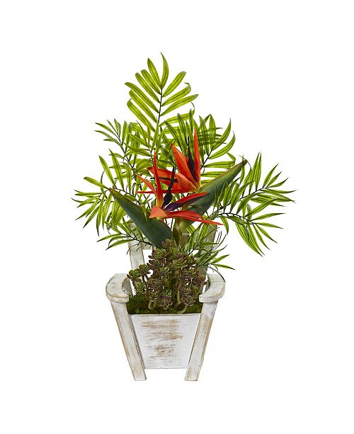 "Nearly Natural 18"" Bird Of Paradise and Areca Palm Artificial Arrangement in Chair Planter"