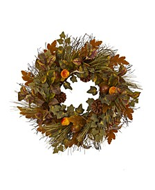 """23"""" Mixed Fall Leaf, Pinecone and Acorn Artificial Wreath"""