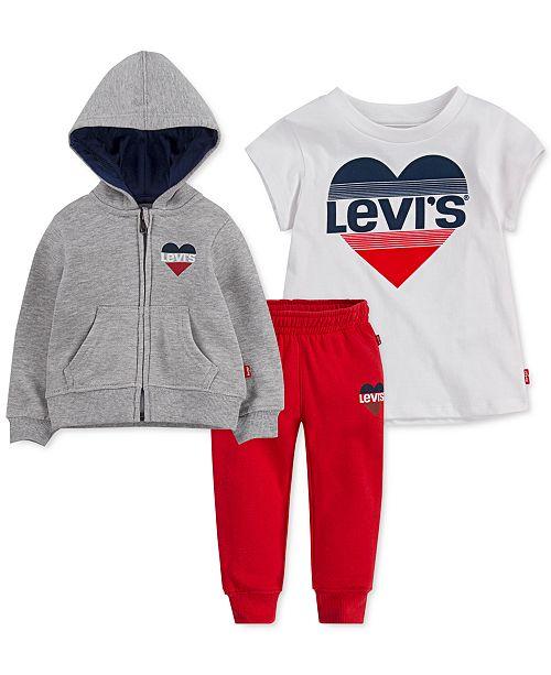 Levi's Little Girls 3-Pc. Hooded Jacket, T-Shirt & Jogger Pants Set