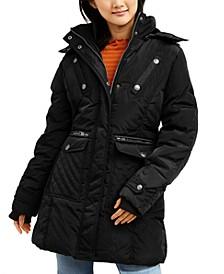 Trendy Juniors' Faux-Fur-Trim Hooded Puffer Coat
