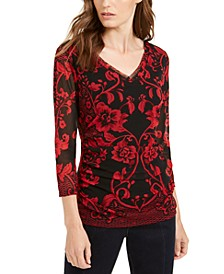 INC Petite Printed Mesh Top, Created For Macy's