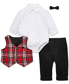 Baby Boys 4-Pc. Bowtie, Plaid Vest, Shirt Bodysuit & Pants Set