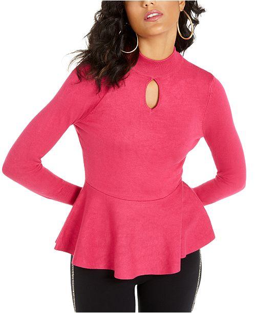 Thalia Sodi Keyhole Peplum Sweater, Created For Macy's
