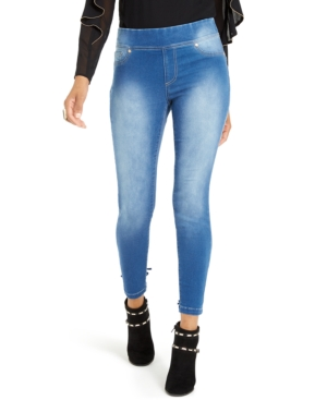 Thalia Sodi Lace-Up Light-Wash Jeggings, Created For Macy's