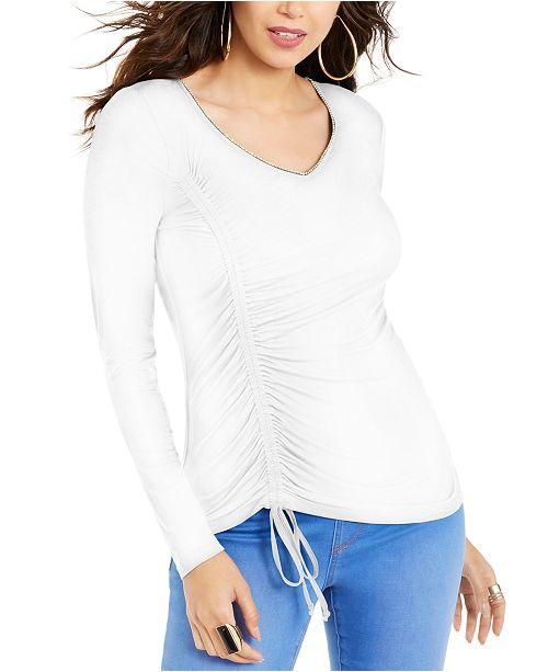 Thalia Sodi Cinch-Front Rhinestone Top, Created for Macy's