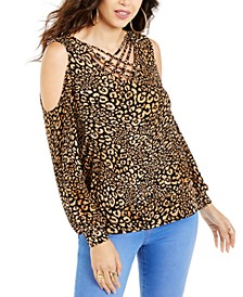 Animal-Print Strappy Cold-Shoulder Top, Created For Macy's
