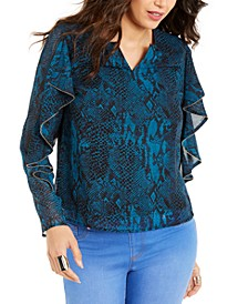 Snake-Print Ruffled-Sleeve Top, Created For Macy's