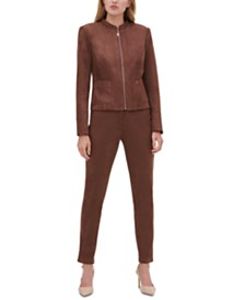 Tommy Hilfiger Faux-Suede Zippered Blazer, Printed Ruffled Blouse & Faux-Suede Pants