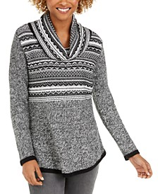 Petite Cowl-Neck Printed Sweater, Created For Macy's