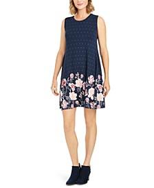 Mixed-Print Sleeveless Swing Dress, Created for Macy's