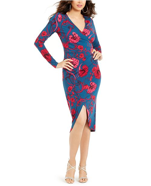 Thalia Sodi Floral-Print Crossover Dress, Created for Macy's