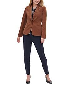 Corduroy Blazer, Floral-Print Blouse & Front-Seam Skinny Pants