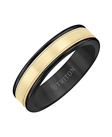 6MM Black Tungsten Carbide Ring with 14K Yellow Gold-  Milgrain Insert