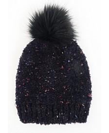 Flecked Yarn Beanie with Pom