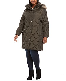 Plus Size Diamond-Quilted Hooded Puffer Coat With Faux-Fur Trim