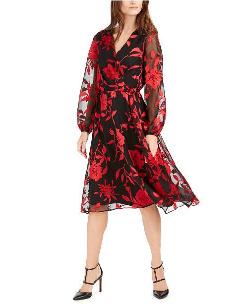 julia jordan Floral-Print Faux-Wrap Dress