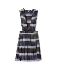 Plus Girls V-Neck Pleated Plaid Jumper
