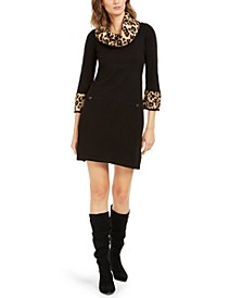 Animal-Print-Trim Sweater Dress