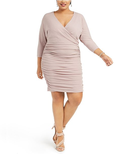 Plus Size Ruched Glitter Bodycon Dress