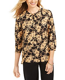 Foil-Printed Pleat-Back Top, Created For Macy's