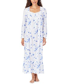 Cotton Floral-Print Lace-Trim Ballet Nightgown