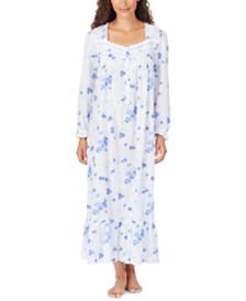 Eileen West Cotton Floral-Print Lace-Trim Ballet Nightgown