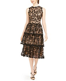 Sequined Lace Tiered Midi Dress