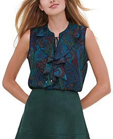 Tommy Hilfiger Printed Ruffled-Neck Top