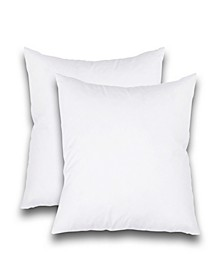 "Feather Stitch, NY Luxury 18"" x 18"" Pillow Insert 2-Pack"