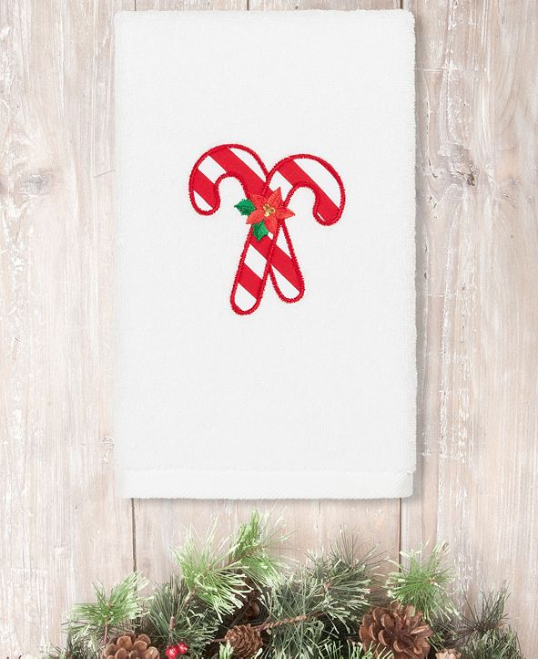 Linum Home Christmas Candy Canes Embroidered 100% Turkish Cotton Hand Towel