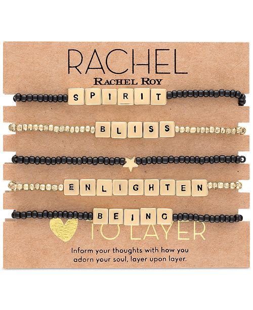 RACHEL Rachel Roy Gold-Tone 5-Pc. Set Bliss Beaded Stretch Bracelets