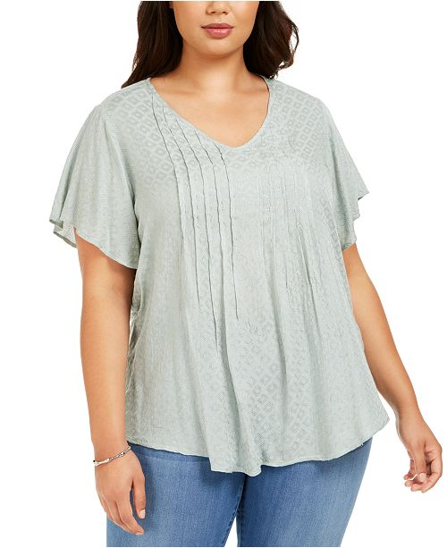 Style & Co Plus Size Pintucked Flutter-Sleeve Top, Created For Macy's