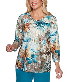 Petite Walnut Grove Mixed-Print Top