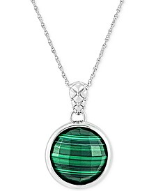 "Malachite 18"" Pendant Necklace in Sterling Silver"