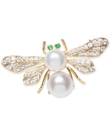 Cultured Freshwater Pearl (8 & 9mm) & Cubic Zirconia Bee Pin in Sterling Silver & 18k Gold-Plate over Silver