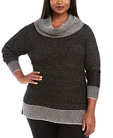 Plus Size Metallic-Threaded Button-Trim Sweater