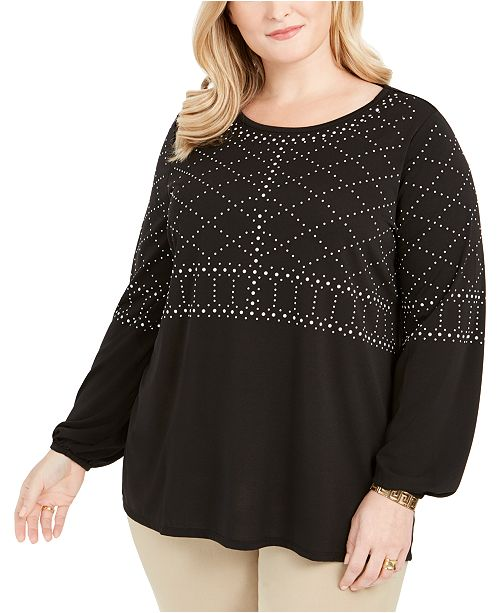 Belldini Plus Size Embellished Top
