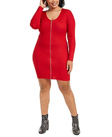 Trendy Plus Size Zip-Front Sweater Dress
